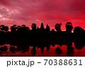 朝焼けのカンボジア・シェムリアップ・アンコールワット(赤) 70388631