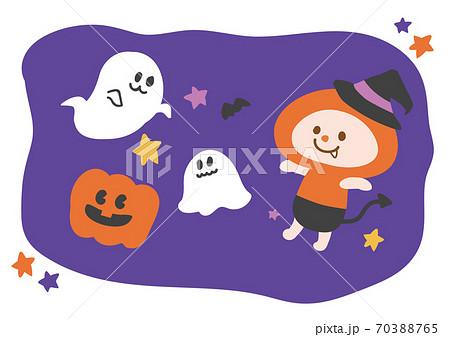 【そざい人】ハロウィンの仮装を楽しむキャラクター 70388765