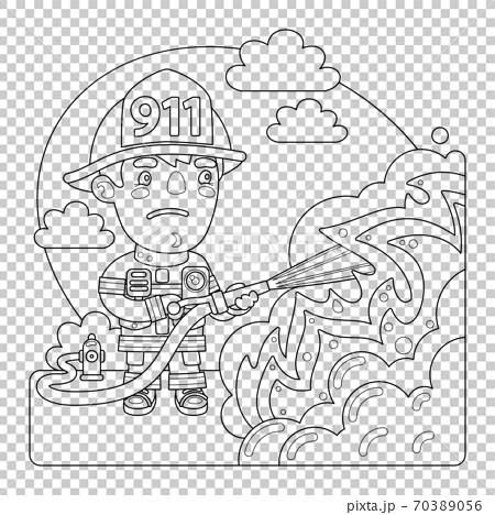 Firefighter Coloring Page - Stock Illustration [70389056] - PIXTA