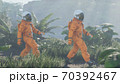 Research astronauts landed on an alien green planet. 3D Rendering. 70392467