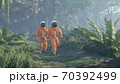 Astronauts explore an unknown blooming green planet. 3D Rendering. 70392499
