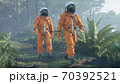 The astronauts-scientists are studying a foreign green deserted planet. 3D Rendering. 70392521