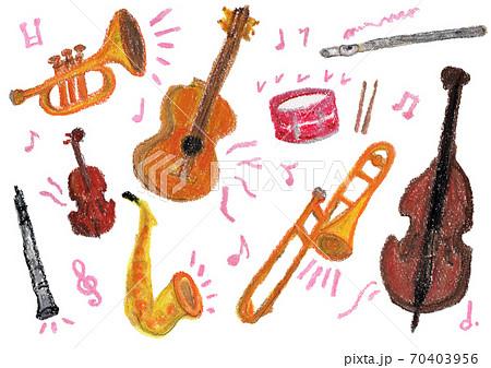 音楽を奏でる楽器いろいろのクレヨンイラスト 70403956