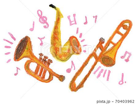 音楽を奏でる管楽器のクレヨンイラスト 70403962