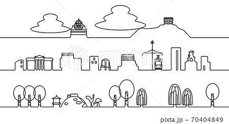 岡山の街並 モノクロ線画 70404849