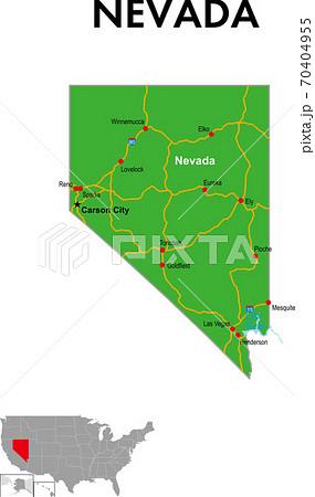 ネバダ州の地図 州都、主な都市、幹線道路 70404955