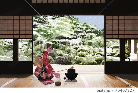 雪の降る新年、和室でお茶を入れる着物姿の女性のイラスト 70407527