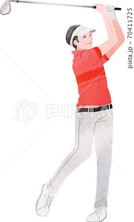 元気にゴルフをする男性 70411725