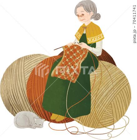 編み物をする女性 70411741