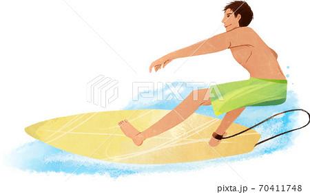 波にのるサーファー 70411748
