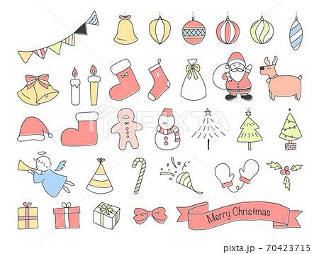 手書きのクリスマス素材セット(カラー) 70423715
