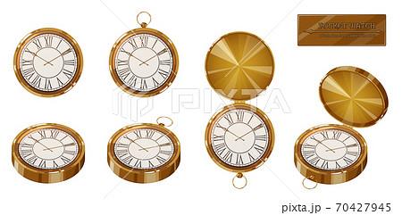 懐中時計のイラスト素材セット_アンティーク_レトロ 70427945