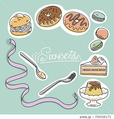 洋菓子スイーツのイラスト 70438171