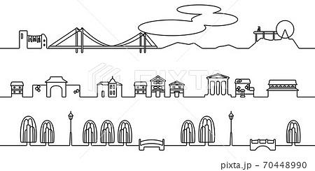 倉敷の街並 モノクロ線画 70448990