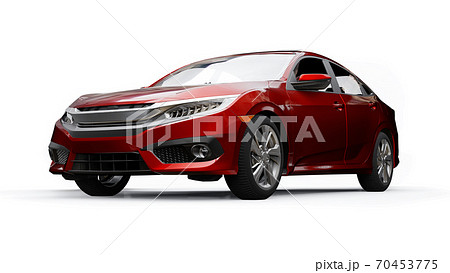 Red mid-size urban family sedan on a white uniform background. 3d rendering. 70453775
