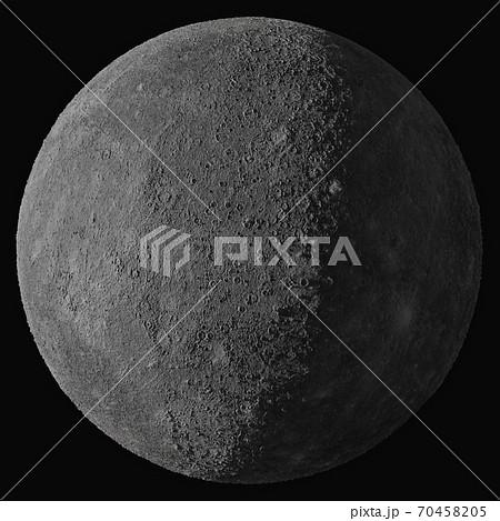 Planet Mercury. Isolated on black background 70458205