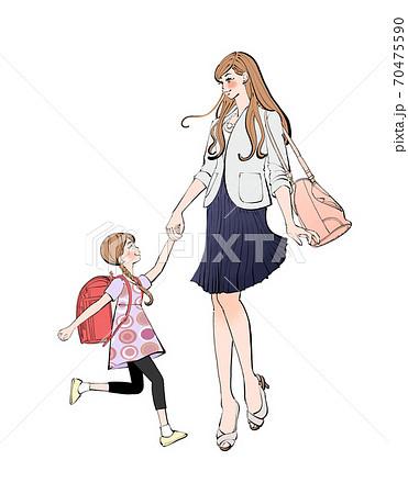 手をつなぐママとランドセルを背負った小学生の女の子のイラスト 70475590