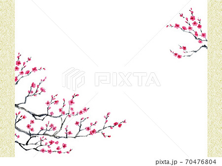 梅の墨彩画の背景 コピースペース A4サイズ 70476804