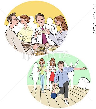 会社の飲み会と、ボーリング大会をする男女のイラスト 70479463
