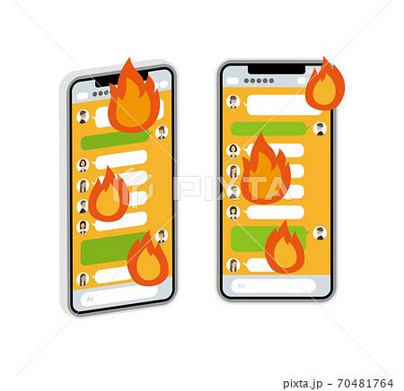 SNSで炎上するスマートフォンのベクターイラスト 70481764