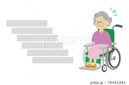 階段に困る車椅子の高齢者イラストイメージ 70481981