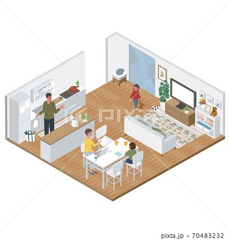 アイソメトリック リビングでテレワークをする女性 キッチンにたつ男性 家族 イラスト 70483232