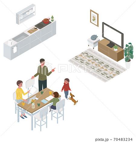アイソメトリック リビングでテレワークをする女性  家族 イラスト 70483234