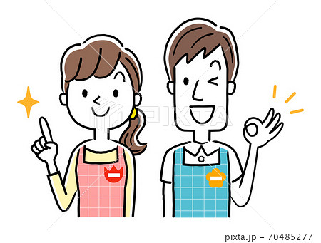 イラスト素材:若い保育士の男性と女性、ポイント 70485277