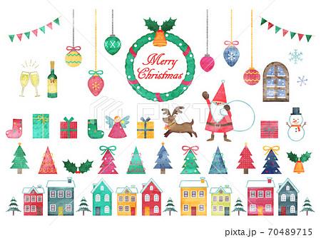 手描き水彩風 クリスマスイラストセット 70489715