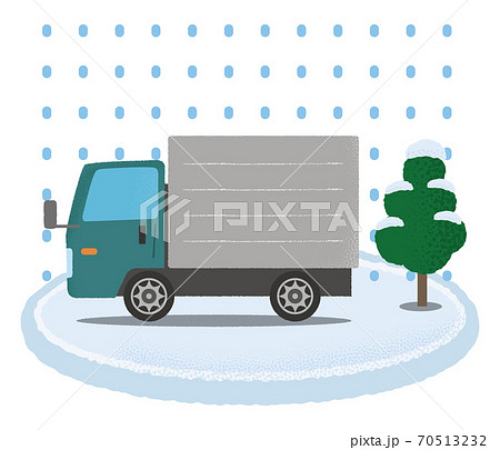 大雪の被害に遭う緑色のトラックのベクターイラスト 70513232