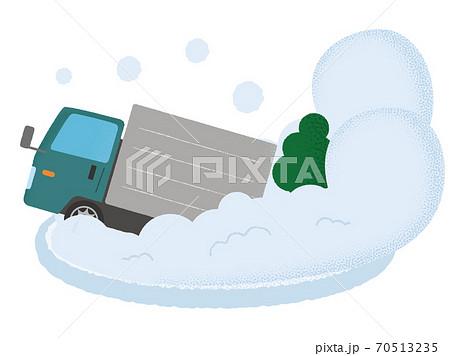 雪崩の被害に遭う緑色のトラックのベクターイラスト 70513235