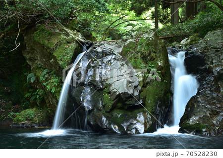 岩肌を濡らして流れる不動滝の女滝 岡山県新庄村 70528230