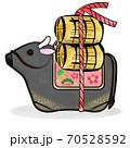 丑年 筆ストローク 黒毛和牛の土鈴と米俵のカットイラスト 70528592