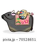 丑年 筆ストローク 黒毛和牛と土鈴と小槌のカットイラスト 70528651