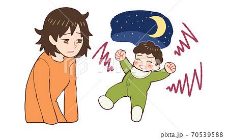 夜泣きする赤ちゃん、産後うつのお母さん 70539588