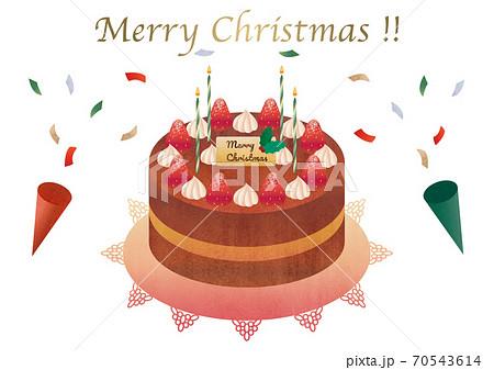 いちごのクリスマスケーキ 素材イラスト 70543614
