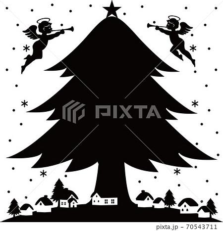 クリスマス クリスマスツリーと天使 コピースペース 70543711