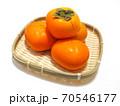 カゴに盛った柿 竹ザルに盛った柿 70546177