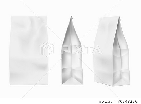 Coffee package mockup. White foil paper bag template for coffee, salt, sugar. Spices, flour, cookie product packing vector set 70548256