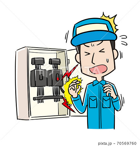 作業中に感電する男性作業員 70569760