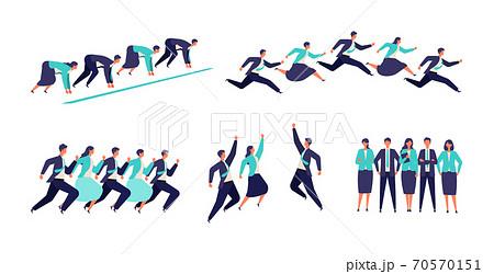 躍動感あふれる男女のビジネスマンチームのイラスト 70570151