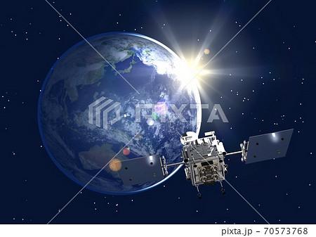 地球 探査機 探査 帰還 3DCGイメージ(星あり) 70573768