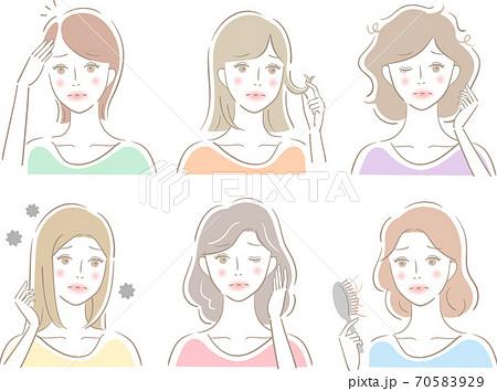 髪の悩み セット 女性 70583929