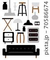モノトーンインテリア家具のイラスト 70586674