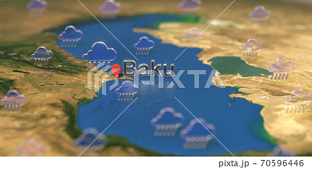 Baku city and rainy weather icon on the map, weather forecast related 3D rendering 70596446