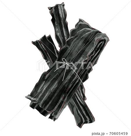 乾燥昆布の水彩風イラスト 70605459