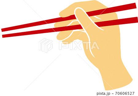 箸と持つ手 70606527