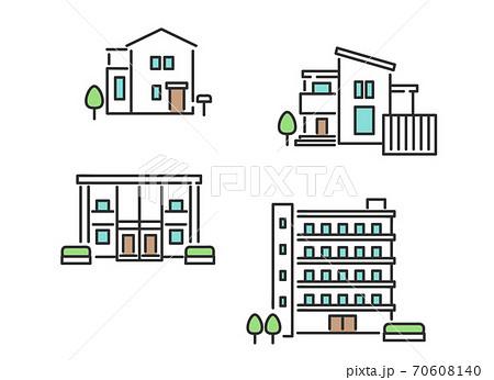 一軒家やマンションなどの不動産のイメージイラスト素材 70608140