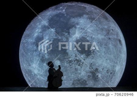 月面写真を背景として撮影したコントラバス奏者の玩具 70620946