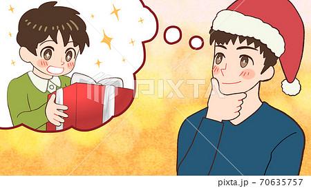 子供のプレゼントに何を贈るか考えているサンタクロースなお父さんのイラスト 70635757